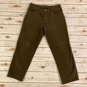 Loro Piana Brushed Olive Green Denim Slacks 33